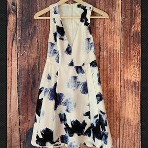 Lulu's Blue and White Print Sleeveless Dress Sz S